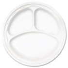 "Famous Service Plastic Dinnerware, Plate, 3-Comp, 10 1/4"" dia, White, 500/Carton DRC10CPWF"