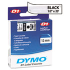 DYM45010 - D1 Standard Tape Cartridge for Dymo Label Makers, 1/2in x 23ft, Black on Clear
