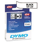 DYM45013 - D1 Standard Tape Cartridge for Dymo Label Makers, 1/2in x 23ft, Black on White