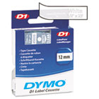 DYM45020 - D1 Standard Tape Cartridge for Dymo Label Makers, 1/2in x 23ft, White on Clear