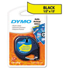 LetraTag Plastic Label Tape Cassette, 1/2in x 13ft, Hyper Yellow DYM91332