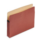 "100% Recycled Paper, Expansion File Pocket, 3 1/2"" Expansion, Letter, Red Fiber ESSE1524E"