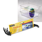 """Desk Tray Stacking Posts for 5"""" Capacity Trays, Black, Four Posts/Set FEL64112"""