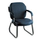 Commerce Series Guest Arm Chair, Sled Base, Ocean Blue Fabric GLB4735BKPB08