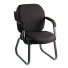 Commerce Series Guest Arm Chair, Sled Base, Asphalt Black Fabric GLB4735BKPB09