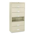 600 Series Six-Shelf Steel Receding Door File, 36w x 16-3/4d x 75-7/8h, Putty HON626CLL