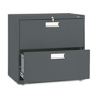 600 Series Two-Drawer Lateral File, 30w x 19-1/4d, Charcoal HON672LS