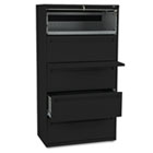 700 Series Five-Drawer Lateral File w/Roll-Out & Posting Shelf, 36w, Black HON785LP