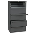 700 Series Five-Drawer Lateral File w/Roll-Out & Posting Shelf, 36w, Charcoal HON785LS