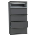 800 Series Five-Drawer Lateral File, Roll-Out/Posting Shelves, 36w x 67h, Charcl HON885LS