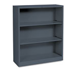 Metal Bookcase, Three-Shelf, 34-1/2w x 12-5/8d x 41h, Charcoal HONS42ABCS