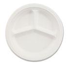 "Paper Dinnerware, 3-Comp Plate, 10 1/4"" dia, White, 500/Carton HUHVESTRYCT"