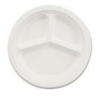 "Paper Dinnerware, 3-Comp Plate, 9 1/4"" dia, White, 500/Carton HUHVISTACT"