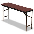 Premium Wood Laminate Folding Table, Rectangular, 60w x 18d x 29h, Mahogany ICE55274
