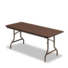 Economy Wood Laminate Folding Table, Rectangular, 72w x 30d x 29h, Walnut ICE55324