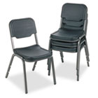 Rough N Ready Series Original Stack Chair, Resin, Black/Gray, 4/Carton ICE64011