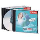 CD-RW Discs, 700MB/80min, 12x, w/Jewel Cases, Silver, 5/Pack IMN16950