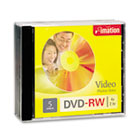 DVD-RW Discs, 4.7GB, 4x, w/Jewel Cases, Silver, 5/Pack IMN17345