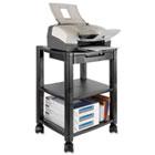 Mobile Printer Stand, Three-Shelf, 17w x 13-1/4d x 24-1/4h, Black KTKPS540