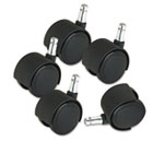 Deluxe Duet Casters, 100 lbs./Caster, Nylon, B and K Stems, Hard, 5/Set MAS23622
