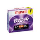 DVD+R Discs, 4.7GB, 16x, w/Jewel Cases, Silver, 5/Pack MAX639002