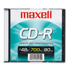 CD-R Disc, 700MB/80min, 48x, w/Slim Jewel Case, Silver MAX648201