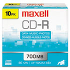 CD-R Discs, 700MB/80min, 48x, w/Slim Jewel Cases, Silver, 10/Pack MAX648210