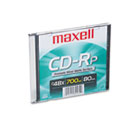 CD-R Disc, 700MB/80min, 48x, w/Slim Jewel Case, Printable Matte Silver MAX648711