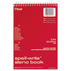 Spell-Write Steno Book, Gregg Rule, 6 x 9, White, 80 Sheets MEA43082