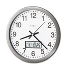 "Chronicle Wall Clock with LCD Inset, 14"", Gray MIL625195"