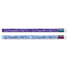 Decorated Pencil, Ready, Set, Best for the Test, Blue/Purple Barrel, 12/Pack MPD52060B