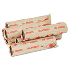 Preformed Tubular Coin Wrappers, Pennies, $.50, 1000 Wrappers/Carton PMC65029