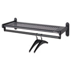 Metal Wall Shelf Rack, Powder Coated Textured Steel, 36w x 14-1/2d x 6h, Black QRT20403