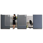 Workstation Privacy Screen, 36w x 48d, Translucent Clear/Silver QRTWPS1000