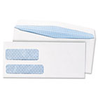 Double Window Security Tinted Envelope, Gummed Flap, #10, White, 500/Box QUA24550