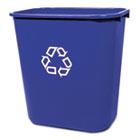Medium Deskside Recycling Container, Rectangular, Plastic, 28.125qt, Blue RCP295673BE