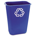Large Deskside Recycle Container w/Symbol, Rectangular, Plastic, 41.25qt, Blue RCP295773BE