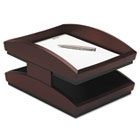 Executive Woodline II Front Loading Legal Desk Tray, Two Tier, Wood, Mahogany ROL19270