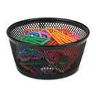 "Jumbo Nestable Paper Clip Dish, Wire Mesh, 4 3/8"" Diameter x 2"" , Black ROL62562"