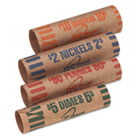 Preformed Tubular Coin Wrappers, 54 Each Pennies/Nickels/Dimes/Quarters, 216/Box RSIFSW216N