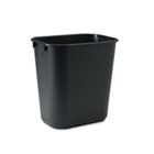 Deskside Plastic Wastebasket, Rectangular, 3.5gal, Black RCP295500BK