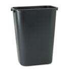 Deskside Plastic Wastebasket, Rectangular, 10.25gal, Black RCP295700BK