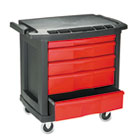 Five-Drawer Mobile Workcenter, 32 1/2w x 20d x 33 1/2h, Black Plastic Top RCP773488