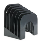 Six-Tier Jumbo Incline Sorter, Plastic, 9 3/8 x 10 1/2 x 7 3/8, Black RUB96601ROS