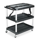 MediaMaster Three-Shelf AV Cart, 18-5/8w x 32-1/2d x 32-1/8h, Black RCP9T28