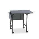 Mobile Machine Stand w/Drop Leaves, Two-Shelf, 36w x 18d x 26-3/4h, Black SAF1876BL