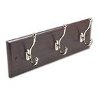 Wood Wall Rack, Three Double-Hooks, 18w x 3-1/4d x 6-3/4h, Mahogany SAF4216MH