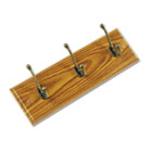 Wood Wall Rack, Three Double-Hooks, 18w x 3-1/4d x 6-3/4h, Medium Oak SAF4216MO
