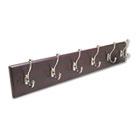 Wood Wall Rack, Six Double-Hook, 35-1/2w x 3-1/4d x 6-3/4h, Mahogany SAF4217MH