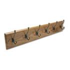 Wood Wall Rack, Six Double-Hooks, 35-1/2w x 3-1/4d x 6-3/4h, Medium Oak SAF4217MO